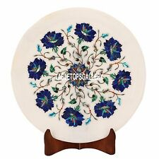 12'' White Marble Plate Lapis Art Inlay Marquetry Dining Table Stone Decor H3586