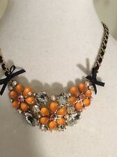 Betsey Johnson Orange Flower & Crystal Frontal Necklace $48 w34