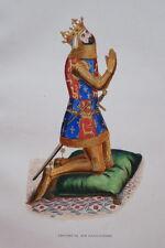 GRAVURE-EDOUIARD III ARMURE ROI ANGLETERRE-COSTUME MOYEN AGE 1847-ANTIQUE  PRINT