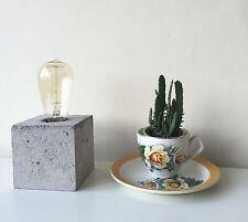 Concrete Block Table Lamp Edison Bulb Light Handcrafted