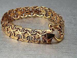 Vintage: 9ct Gold  Heavy Ornate Fancy Link Bracelet - superb condition 18cm