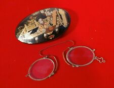 HIGHLY COLLECTIBLE GEORGIAN PAPIER MACHE CASE & PINCE NEZ SPECTACLES c1815