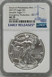 2021 P Silver American Eagle NGC MS70 Emergency Production Early Releases