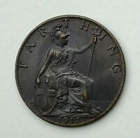 Dated : 1917 - One Farthing - 1/4d Coin - King George V - Great Britain