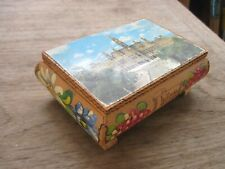 Small Reuge Wood Music Box with Picture of Wien? on Lid(bit shabby), Works