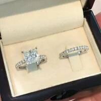 3 Ct Princess Cut Diamond 14K White Gold Fn Solitaire Bridal Set Engagement Ring