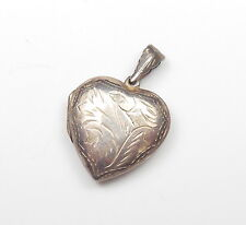 Vintage 925 Sterling Silver LOVE HEART SHAPE PATTERNED PUFFED PHOTO LOCKET 6.6g