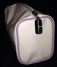 Clinique Travel Tote Makeup Bag White & Purple Trim Detailing Logo Zip
