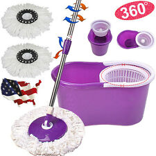 Home Magic Spin Floor Mop w/Bucket 2 Microfiber Head 360° Rotating Cleaning Mops