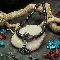 Beau Collier Homme perles pierre GEMME Pendentif Acier inoxydable Style Antique