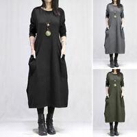 Hiver et Automne Femme Couture Col Rond Manche Longue Fendu Robe Dresse Plus