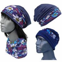 Cool4 Beanie Jeans Blue Floral Kopftuch-Look - 2erSet Chemo Turban SBK15
