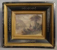 19thC Antique HUDSON RIVER VALLEY Old HRV SAILBOAT Shadowbox Frame OIL PAINTING