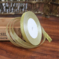25yards/rool Silk Satin Ribbon Gold/Sliver Wrapping Christmas Decorative DIY 6mm
