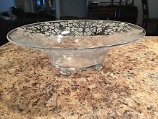 Rose Pattern Clear Glass Depression Glass Large Footed Salad Bowl Serving Bowl