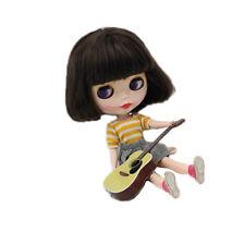 """Para 12"""" NEO BLYTHE doll Takara muñeca peluca corta marrón oscuro ~ con cabeza de la piel"""