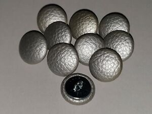 10 Upholstery buttons in Silver Faux leather 20mm