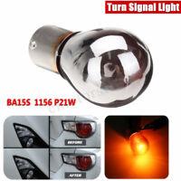 12V Mirror Chrome Amber Turn Signal Light Front Indicator Bulb BA15S 1156 P21W