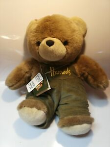 "NWT Vintage Harrod's London Teddy Bear, Corduroy Overalls, 10"" Sitting Teddy"
