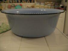 Vintage Large Blue With White Polka Dots Enamel Ware Round Tub Basin Wash Bowl