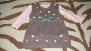 BOUTIQUE NEXT BABY 3-6  POLKA DOT DRESS SHIRT SET