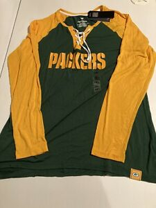 Green Bay Packers NFL Majestic Women's Lace-Up T-Shirt XXL 2XL NWT