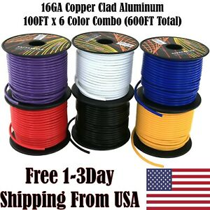 16 Gauge Ga Copper Clad 12V Automotive Trailer Harness Hookup Primary Auto Wire