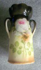 Vintage Czecho-Slovakia Ceramic Vase Rose Double Handles 1920s