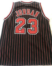 Michael Jordan Signed Chicago Bulls Black/Red Pinstriped Custom Jersey with COA