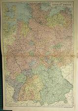 1894 ANTIQUE MAP ~ GERMAN EMPIRE WESTERN HANOVER KIEL MECKLENBERG WILHELMSHAVEN