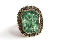 Art Nouveau 14K Gold Carved Jadite Jade Ring  Basse Taille Crown