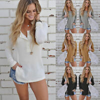 Women Henley Long Sleeve Pullover Knitted Sweater Shirt Casual Blouse Jumper Top