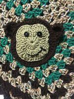 HandMADE crocheT baby blanket/lap afghan-UNISEX MONKEY GREEN-NEW- SHOWER GIFT