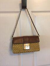 NWT Michael Kors Gabriella Clutch Purse Straw Walnut Leather Chain $228