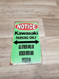 "KAWASAKI PARKING ONLY METAL SIGN 8"" x 14""  - GARAGE/ MAN CAVE/ SHED"