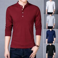 Primavera Otoño Nuevo Algodón Camiseta Hombres Camiseta De Color Liso Cuello Mandarín Tp