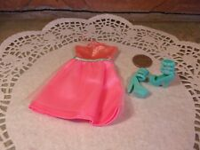 Mattel Barbie pink dress with aqua trim and matching heels b24