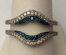 PAVE SET SOLITAIRE ENHANCER WHITE BLUE DIAMOND RING GUARD WRAP WHITE GOLD OVER