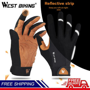 Bike Cycling Gloves Touch Non-Slip Reflective Strip Design Full Finger Keep Warm