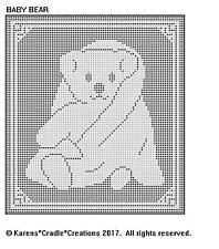 BABY BEAR Filet Crochet Doily / Wallhanging Pattern