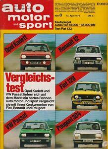 auto motor sport Heft 8 April 1974 Test Fiat 132 GLS Skoda S 110 Fiat 128 Rally