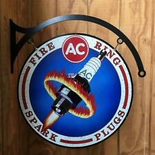 NEW AC Spark Plug Large round with hanger tin metal sign