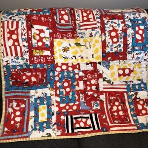 """Vtg Handmade Patchwork Lap Quilt 35"""" Sq Dr Seuss Cat in the Hat Primary Colors"""