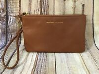 Adrienne Vittadini Studio Brown Gold Zippered USB Phone Charge Wristlet Wallet