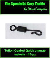 A0361 10 PZ TEFLON COATED QUICK CHANGE SWIVEL CARPFISHING HAIR RIG BOILIES BOLT