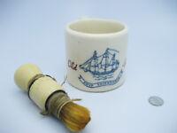 Old Vintage Ceramic OLD SPICE Ship Friendship Shaving Mug Soap Lather Hair Brush
