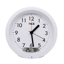 FanJu FJ5132 Round Silent Small Analog Travel Alarm Clock Non-Ticking