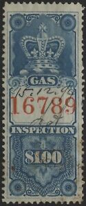 Canada 1875 VanDam FG3 $1.00 blue Gas Insp. (red 4.5mm control #) used