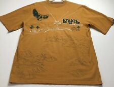 Encye Men's Short Sleeve T Shirt XL Yellow Embroidered Eagle Mountain Trees