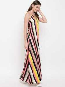 Mayra Femmes Imprimé Rayures Col V Robe Maxi Avec Épaule Bretelles